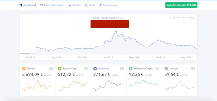 Das Dashboard bei Coinbase