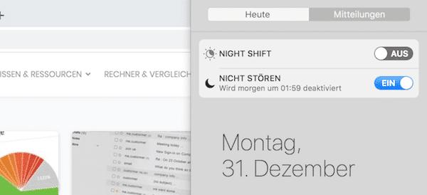 Nicht Stören Modus Mac Benachrichtigung ausschalten Produktivität