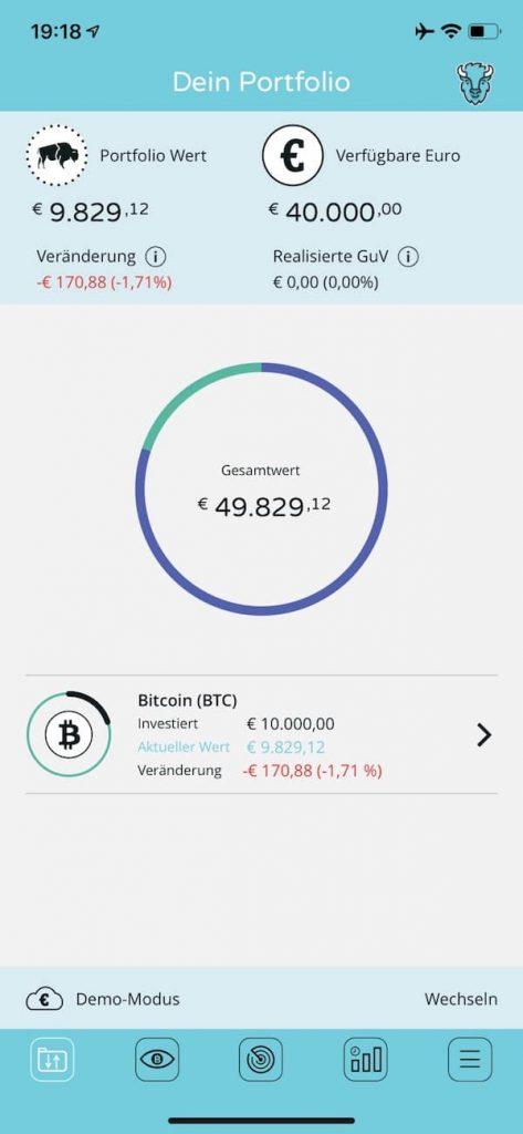 BISON App Kryptowährungen Börse Stuttgart