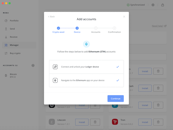 Ledger Nano S Hardware Wallet Kryptowährungen Bitcoin Ethereum Ripple Litecoin Anleitung Apps Manager Accounts 1