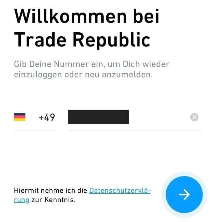 Trade Republic Anmeldung Registrierung Anleitung Handynummer