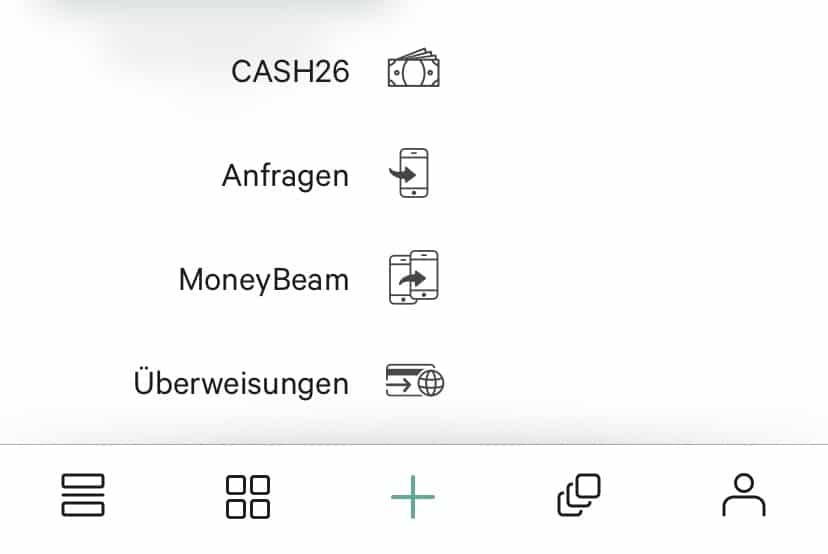 Überweisungen N26 Cash26 MoneyBeam