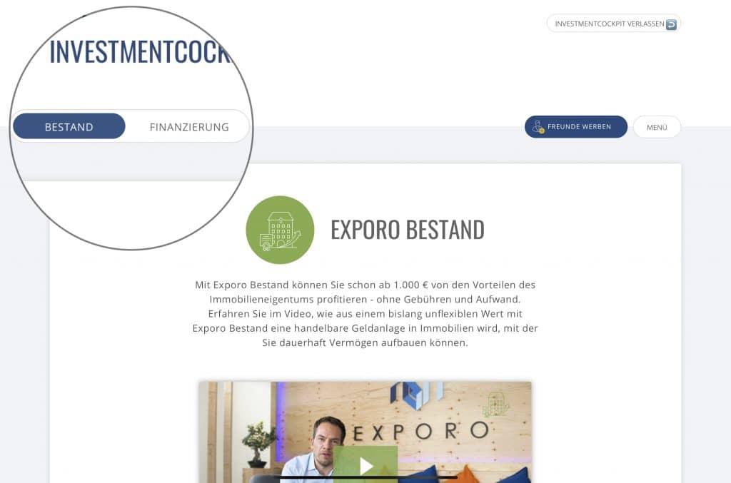 Investmentcockpit Backend Exporo