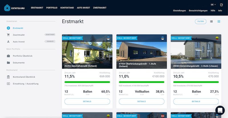 EstateGuru Erstmarkt Projekte P2P-Immobilien Investments