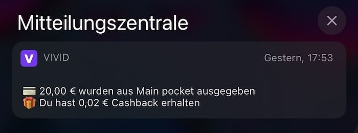 Cashback Vivid Money Stock Rewards