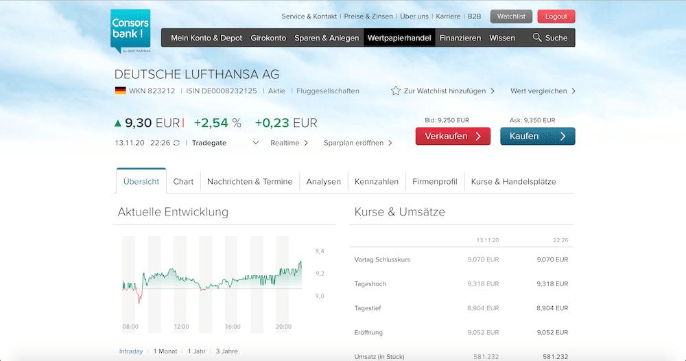 Consorsbank Young Trader Zero Depot Web-Oberfläche Erfahrungen