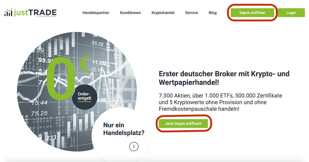 JustTrade Depoteröffnung Anleitung