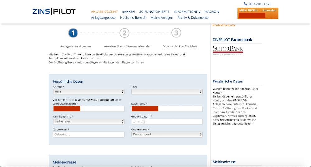 Zinspilot-Kontoeröffnung 3 Tagesgeld Festgeld Flexgeld