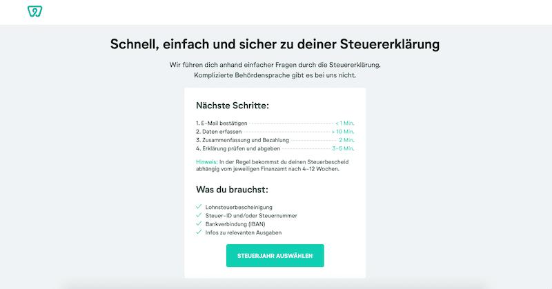 Wundertax-Anleitung Online-Steuertool Kontoeröffnung Steuererklärung online machen