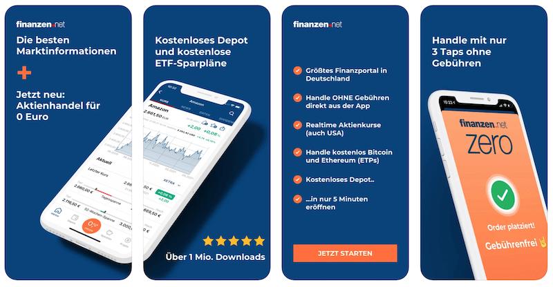 Finanzen.net Zero App Web Broker Depot